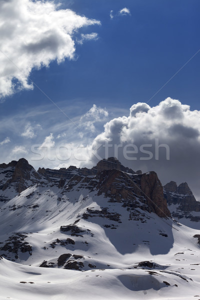 Snow mountains in sunny day Stock photo © BSANI