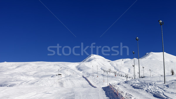 Stock photo: Winter mountains and ski slope at nice sun day