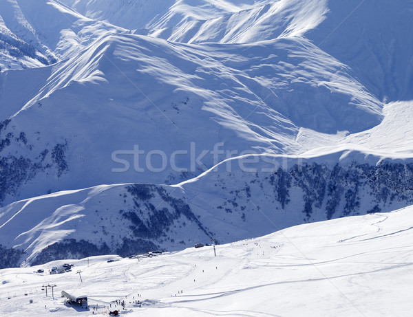 Stock photo: Top view on ski slope at sun day