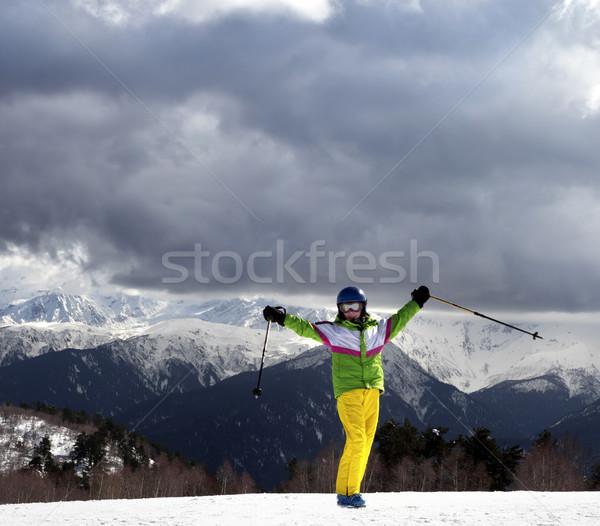幸せ 小さな スキーヤー スキー 太陽 山 ストックフォト © BSANI