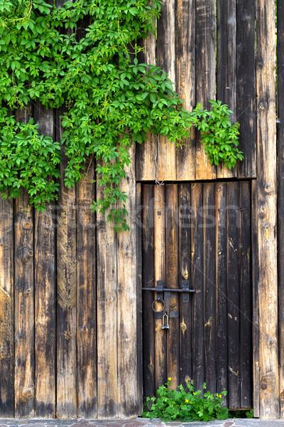 Oude houten muur deur vintage metaal Stockfoto © BSANI