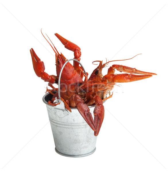 Tin bucket of boiled crawfish Stock photo © BSANI
