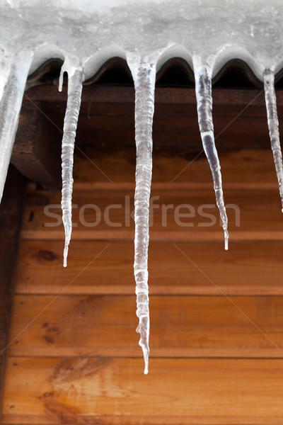 Fából készült fal tavasz épület hó tél Stock fotó © BSANI