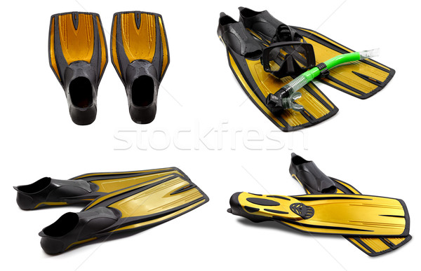 Set of yellow swim fins, mask, snorkel for diving with water dro Stock photo © BSANI
