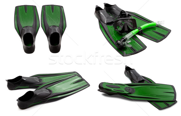 Set of green swim fins, mask, snorkel for diving with water drop Stock photo © BSANI