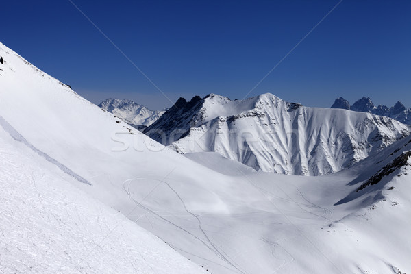 View on snowy off piste slope with trace from avalanche Stock photo © BSANI