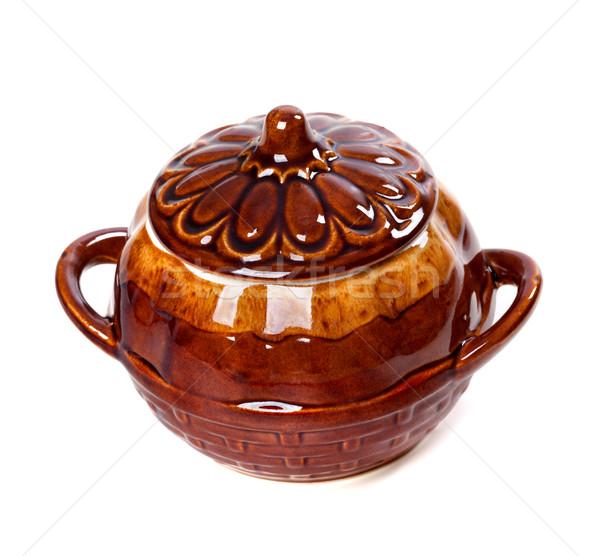 Ceramica pot isolato bianco cucina retro Foto d'archivio © BSANI
