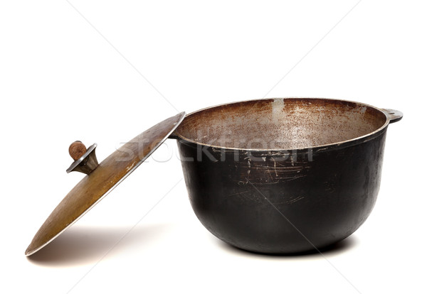 Open old black pot with lid Stock photo © BSANI