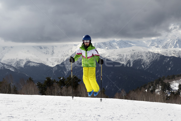 小さな スキーヤー ジャンプ スキー 太陽 山 ストックフォト © BSANI