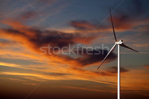 ветровой турбины закат небе облака пейзаж фермы Сток-фото © BSANI
