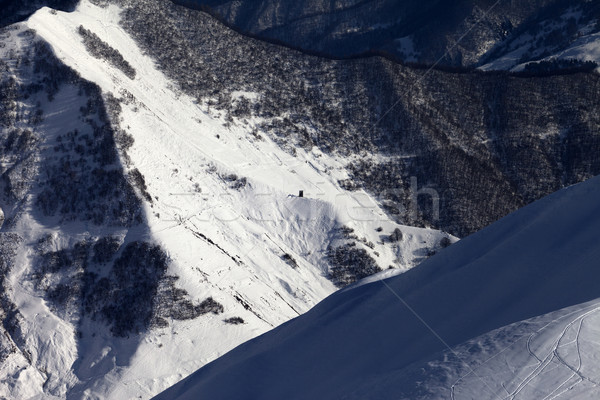View from off-piste slope on snowy canyon Stock photo © BSANI