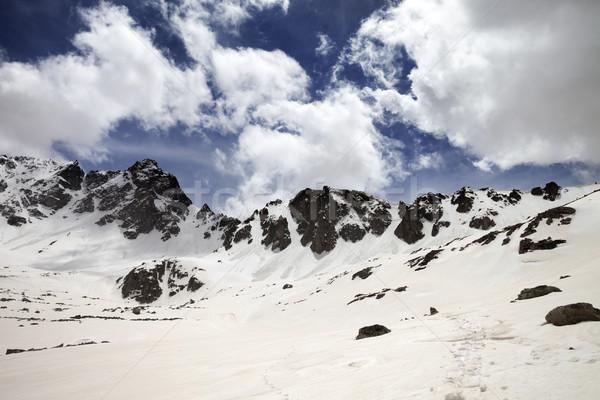 Snowy mountains at nice sun day Stock photo © BSANI