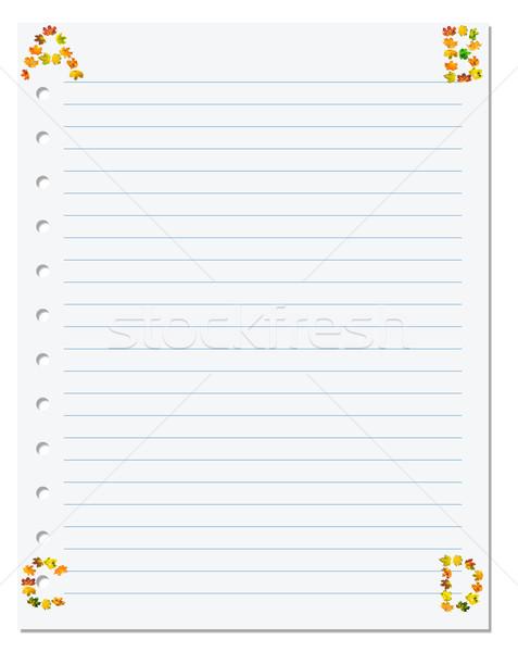 Cuaderno papel cartas esquina otono arce Foto stock © BSANI