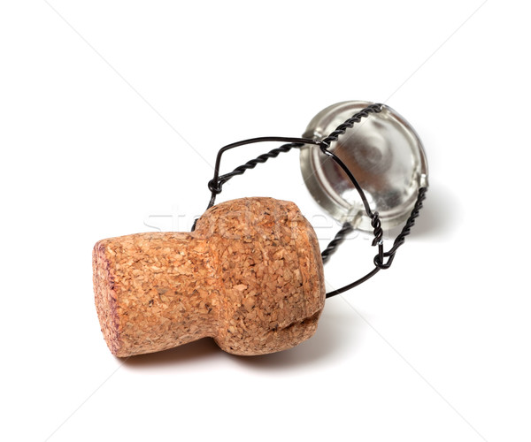 Champagne wine cork and muselet on white background Stock photo © BSANI