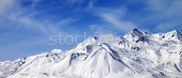 パノラマ 表示 冬 山 風の強い 日 ストックフォト © BSANI