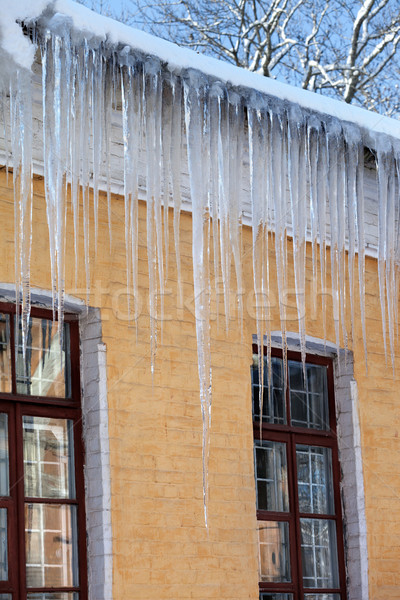 Snow-covered roof with big icicles in winter day Stock photo © BSANI