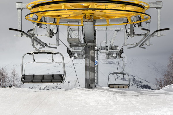 Top station of ropeway and gray sky in winter day Stock photo © BSANI