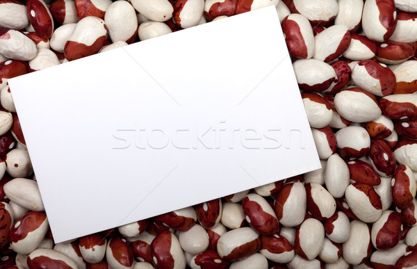 Haricot beans background with empty price card Stock photo © BSANI