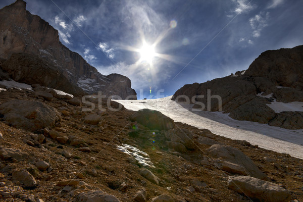 Mountain pass and blue sky with sun Stock photo © BSANI