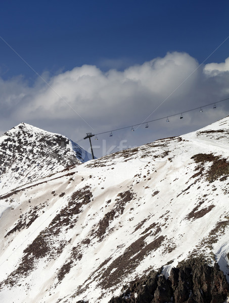 Off-piste slope and chair-lift in little snow year Stock photo © BSANI