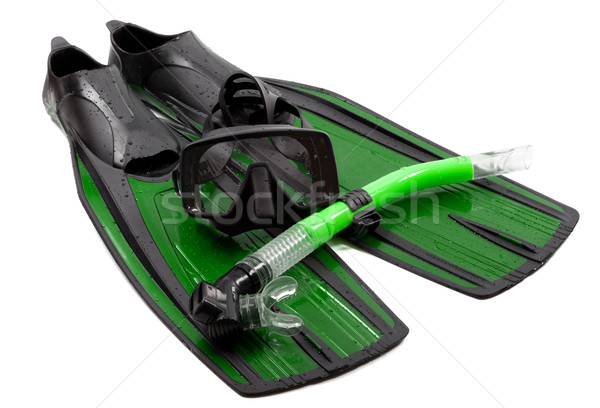 Mask, snorkel and flippers on white background. Stock photo © BSANI