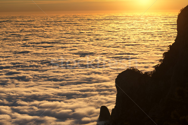 Silhouette of rocks and sea in sunlit clouds at sunset Stock photo © BSANI
