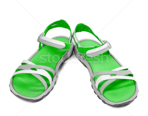 Paar zomer sandalen geïsoleerd witte strand Stockfoto © BSANI