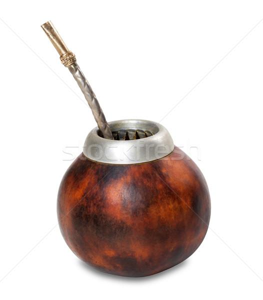 Calabash with bombilla on white background Stock photo © BSANI