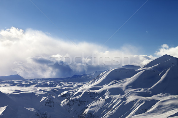 Evening sunlight mountains in cloud Stock photo © BSANI