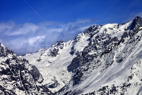 Mountains with glacier in snow at winter sun day Stock photo © BSANI