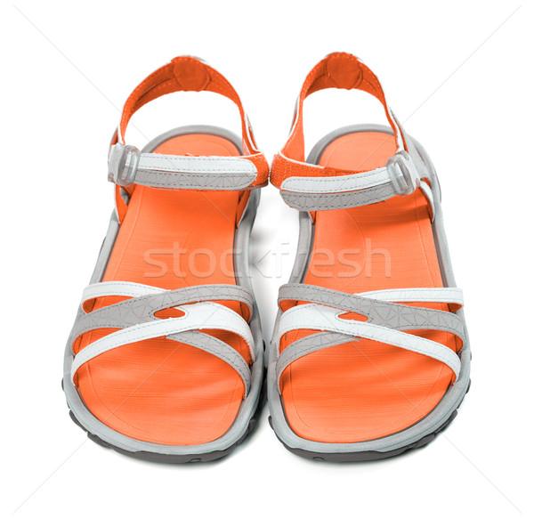 Par verano sandalias frente vista aislado Foto stock © BSANI