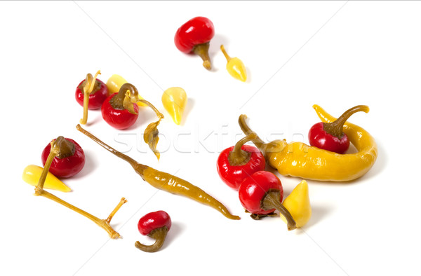 Mix of hot marinated peppers Stock photo © BSANI