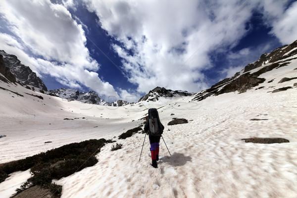 ハイカー 雪 山 太陽 日 トルコ ストックフォト © BSANI