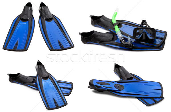 Set of blue swim fins, mask and snorkel for diving Stock photo © BSANI