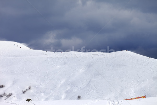 Off-piste slope and gray sky in bad weather day Stock photo © BSANI