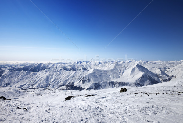 Snowy mountains at nice sun day Stock photo © BSANI