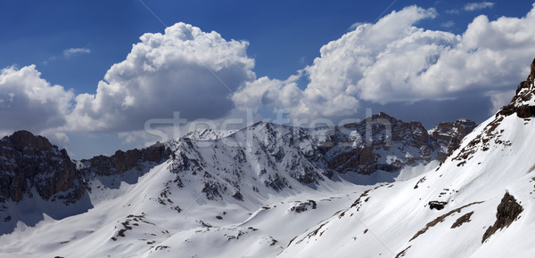 Panorama of snowy mountains in nice day Stock photo © BSANI