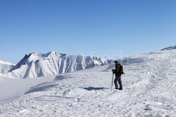 Esquiador topo bom manhã cáucaso Foto stock © BSANI