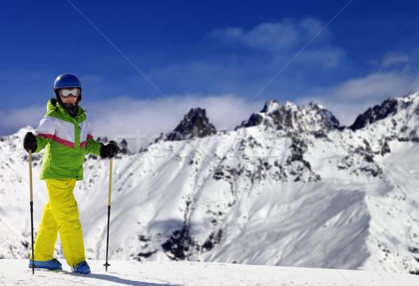 小さな スキーヤー スキー 雪 山 太陽 ストックフォト © BSANI