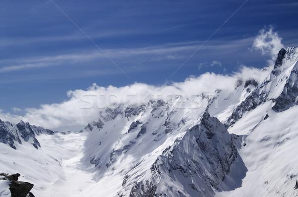 Kaukázus hegyek tájkép jég tél kék Stock fotó © BSANI
