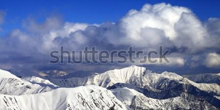 Panorama dağlar kayakçı kafkaslar adam Stok fotoğraf © BSANI