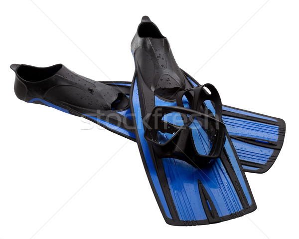 Mask and flippers with water drops Stock photo © BSANI