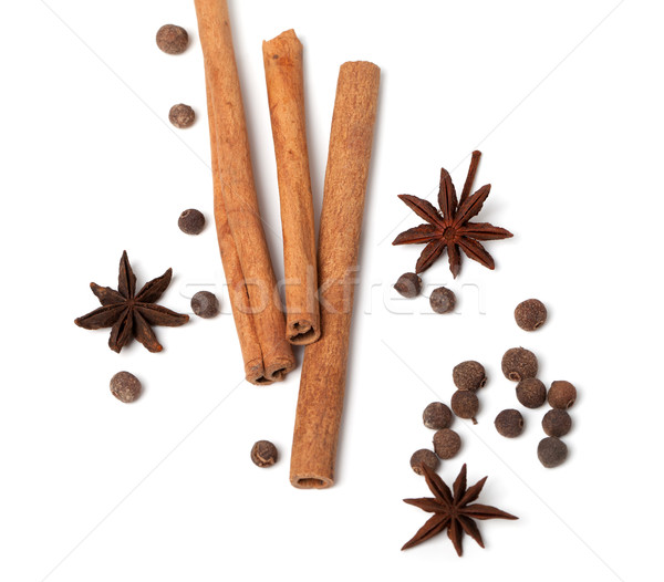 Cinnamon sticks, anise stars and black peppercorns Stock photo © BSANI