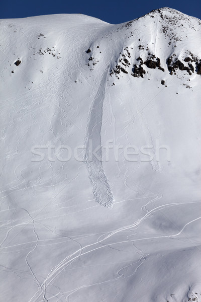 Off piste slope with trace of skis, snowboarding and avalanche Stock photo © BSANI