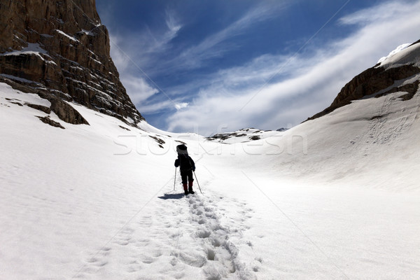 Sziluett természetjáró hó fennsík Törökország központi Stock fotó © BSANI