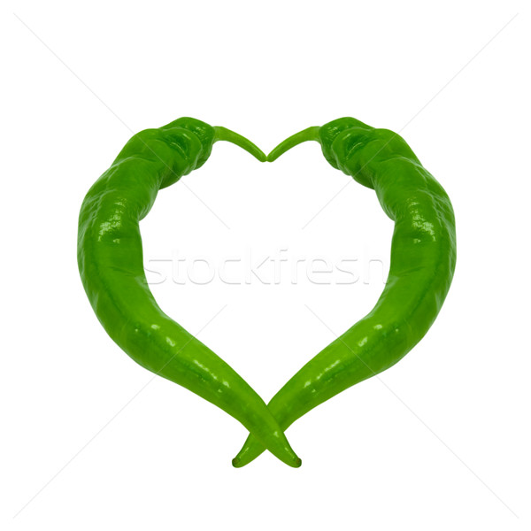 Stock photo: Heart composed of green peppers