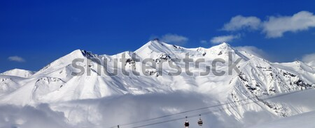 Panoramic view on off-piste slopes and blue sky at nice day Stock photo © BSANI