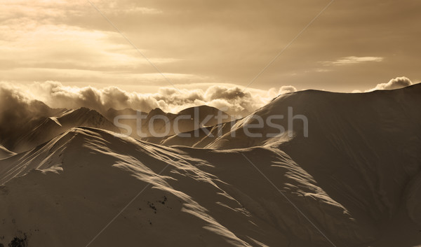 セピア 山 霧 太陽 コーカサス ストックフォト © BSANI