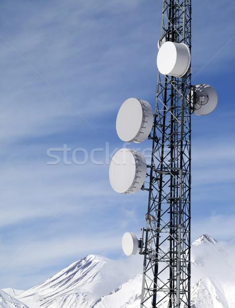 Satelitarnej dania góry słońce dzień kaukaz Zdjęcia stock © BSANI
