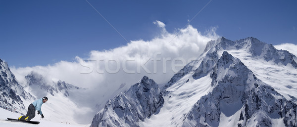 Panorama snow mountains with snowboarder Stock photo © BSANI